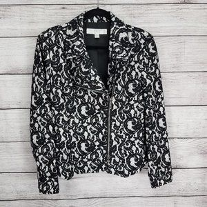 Boston Proper 16 Lace Moto Jacket Asymmetrical Zip